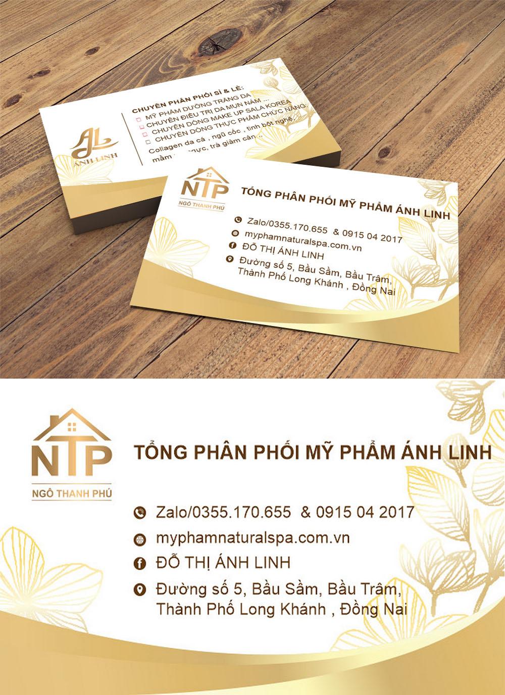 Mẫu danh thiếp namecard phân phối mĩ phẩm ánh linh